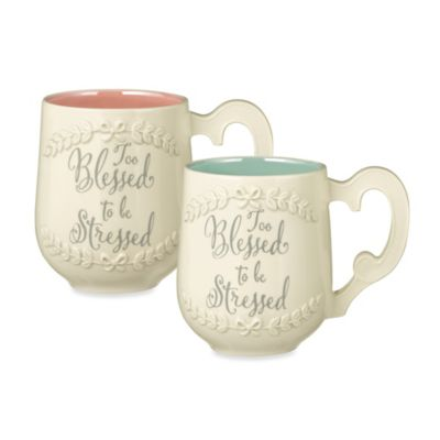 "Grasslands Road® ""Too Blessed to be Stressed"" Mug in Blue"