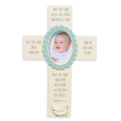 Grasslands Road® Many Blessings Cross Photo Frame in Blue
