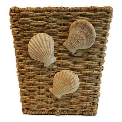 Seaside Square Buri Wastebasket with Shell Trim