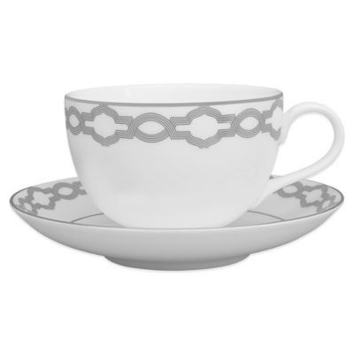 White Platinum Teacup and Saucer