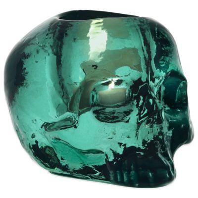 Kosta Boda Still Life Skull Votive Holder in Green