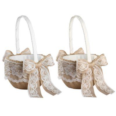 Ivy Lane Design Country Romance Flower Girl Basket in Ivory