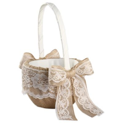 Ivy Lane Design Country Romance Flower Girl Basket in Ivory