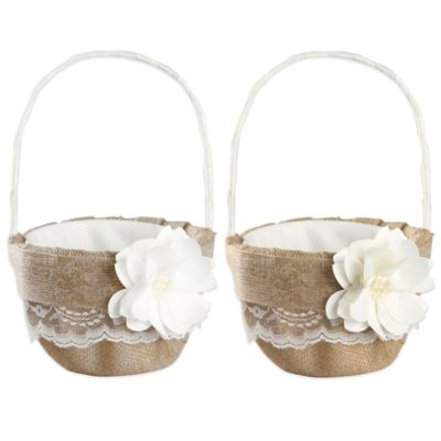 Ivy Lane Design™ Rustic Garden Flower Girl Basket in Ivory