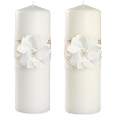 Ivy Lane Design™ Rustic Garden Pillar Candle in Ivory