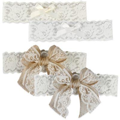 Ivy Lane Design Country Romance Small Bridal Garter Set in White