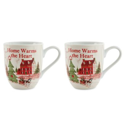 Fitz and Floyd® Home Warms the Heart Holiday Mugs (Set of 2)