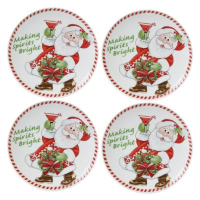 Fitz and Floyd® Regal Holiday Candy Cane Santa 6-Inch Snack Plates (Set of 4)