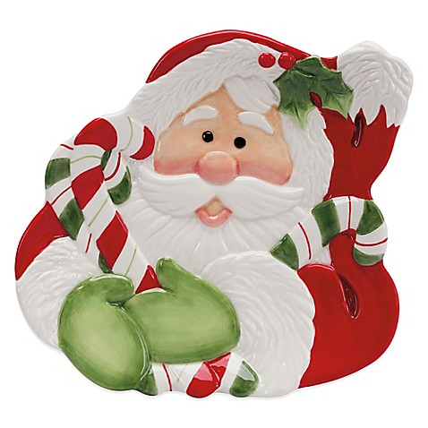 Buy fitz and floyd regal holiday candy cane santa 10 inch for Fitz and floyd canape plate