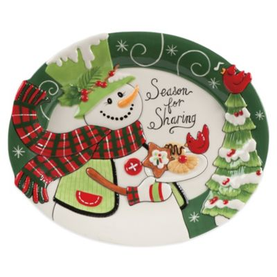 Fitz and Floyd® Regal Holiday Holly Hat Snowman Cookie Platter