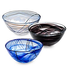 Kosta Boda Contrast Black Glass Bowl