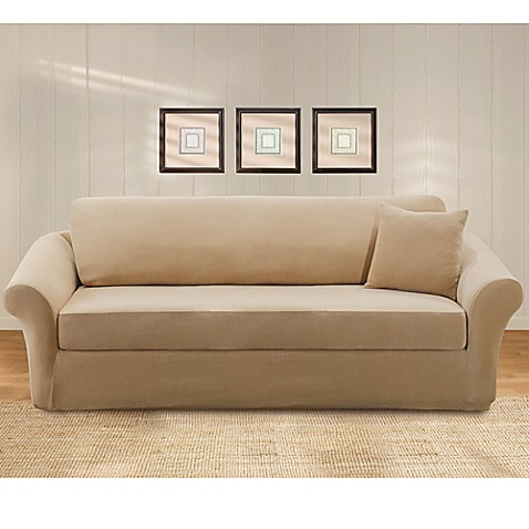 sure fit stretch pique 3 piece sofa slipcover www bedbathandbeyond