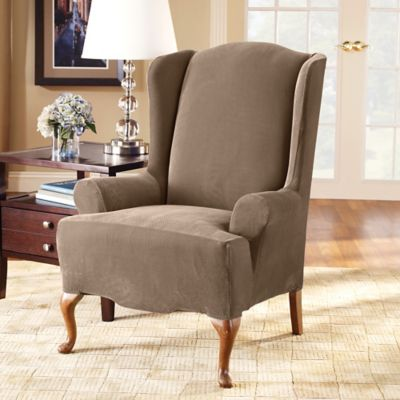 Sure Fit® Stretch Pique Wing Chair Slipcover