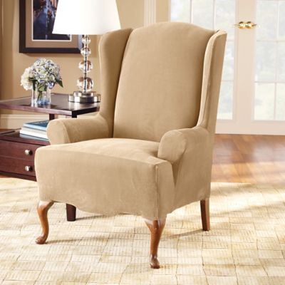 Sure Fit® Stretch Pique Wing Chair Slipcover in Cream