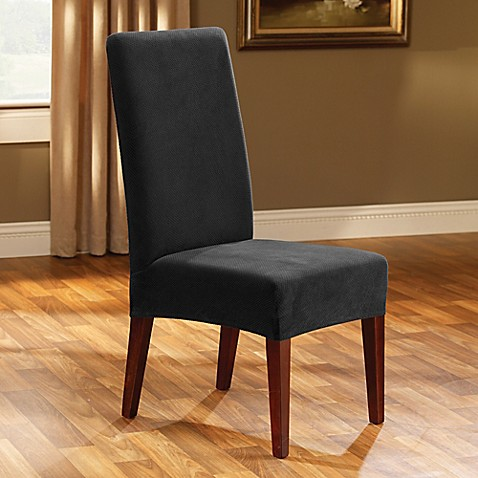 Sure Fit Stretch Pique  Knit Dining Room Chair Black