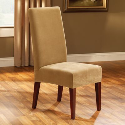 Buy sure fit stretch plush short dining room chair cover in black from bed bath beyond - Plush dining room chairs ...