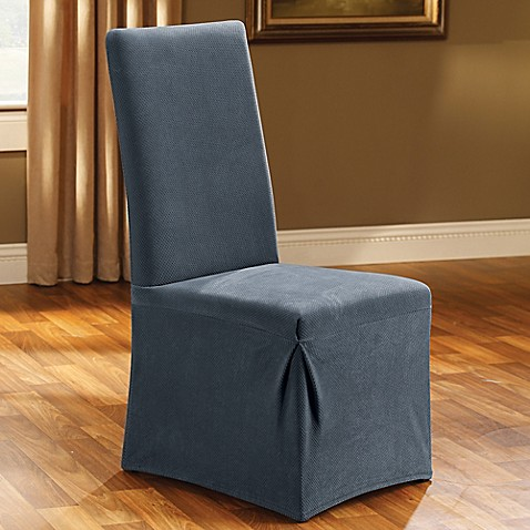 buy sure fit stretch pique dining room chair slipcover in blue from