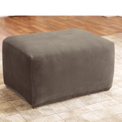 Stretch Pique Taupe Ottoman Cover by Surefit®
