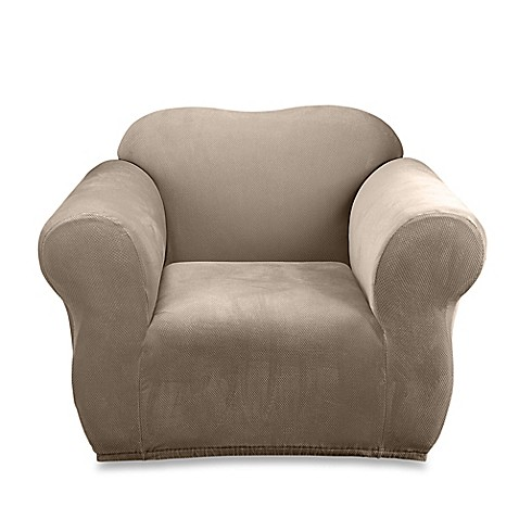 Sure Fit®Stretch Sterling Chair Slipcover in Taupe