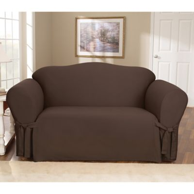 Sure Fit® Duck Supreme Cotton Loveseat Slipcover in Warm Chocolate