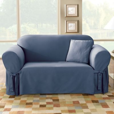Sure Fit® Duck Supreme Cotton Loveseat Slipcover in Bluestone