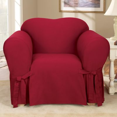 Sure Fit® Duck Supreme Suede Chair Slipcover in Claret