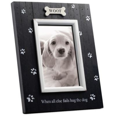 Black with White Distressed Wood 4-Inch x 6-Inch Pet Frame