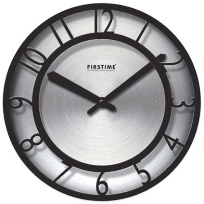FirsTime® Black on Steel Wall Clock