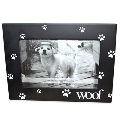 Black with White Paw Prints Woof 4-Inch x 6-Inch Pet Frame