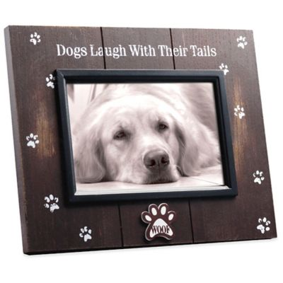 Espresso Barnwood Distressed Dogs Laugh With Their Tails 4-Inch x 6-Inch Picture Frame