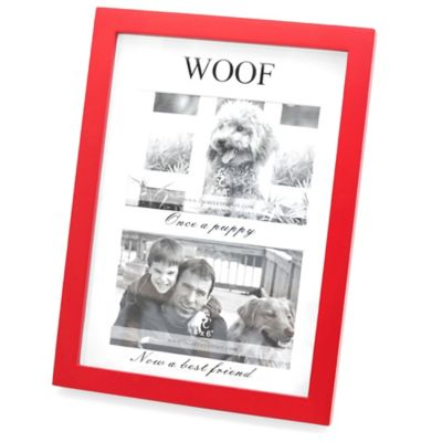 Red Wood Matted Shadowbox WOOF 4-Inch x 6-Inch Frame