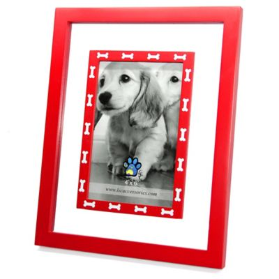 Red Wood and Glass 4-Inch x 6-Inch Frame with White Dog Bone Print