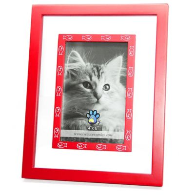 Red Wood and Glass White Fish 4-Inch x 6-Inch Frame
