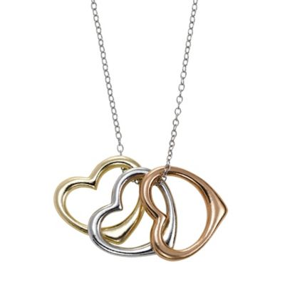 Tri-Color 18K Yellow and Rose Gold-Plated Sterling Silver 18-Inch Chain Heart Charm Necklace