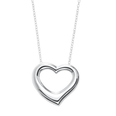 Sterling Silver 18-Inch Chain Heart Pendant Necklace