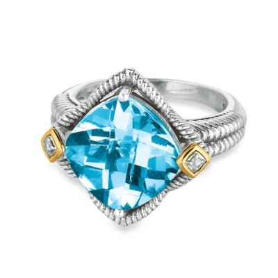 Phillip Gavriel Sterling Silver 18K Yellow Gold .02 cttw Diamond Blue Topaz Size 7 Ring
