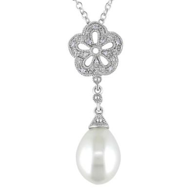 Sonatina Sterling Silver .04 cttw Diamond and Freshwater Cultured Pearl Pendant Necklace
