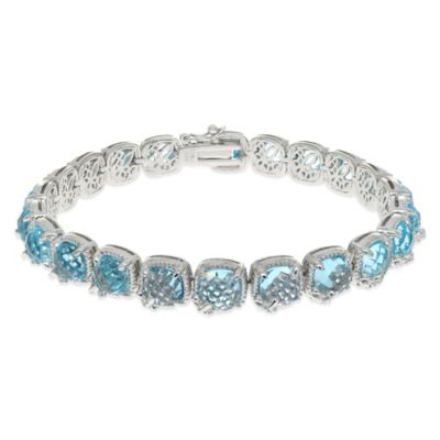 Phillip Gavriel Sterling Silver Blue Topaz and White Sapphire 7.25-Inch Tennis Bracelet