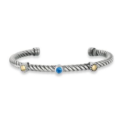 Sterling Silver Twist Cable Cuff with Blue Topaz and 18K Yellow Gold Accents