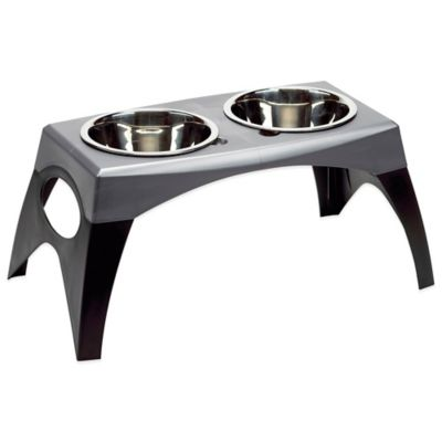 Bergan® Medium Elevated Feeder in Black/Grey
