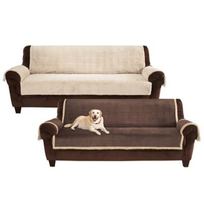 Pawslife™ Reversible Plush Quilt Sofa Furniture Cover in Taupe