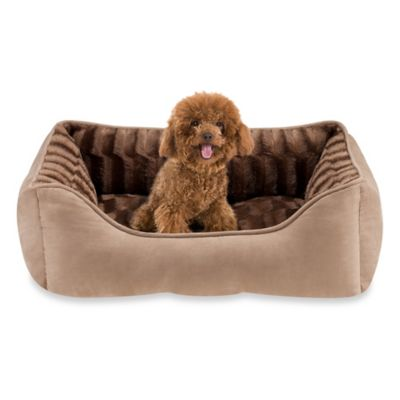 Rectangular Fur Cuddler Pet Bed in Brown