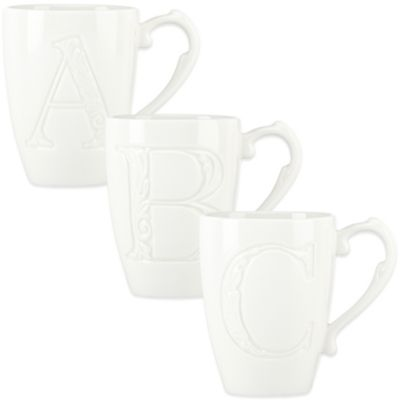 "Lenox® Initially Mine ""Letter W"" Carved Monogram Mug"