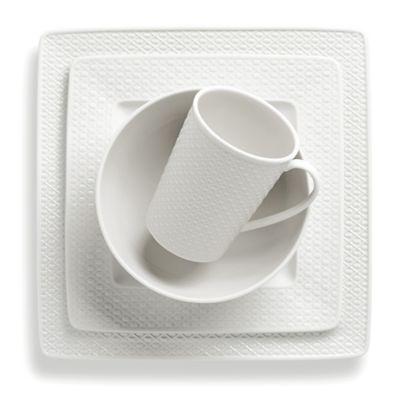 4-Piece White Square Dinnerware