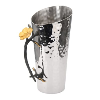 Classic Touch Hammered Stainless Steel Pitcher in Silver