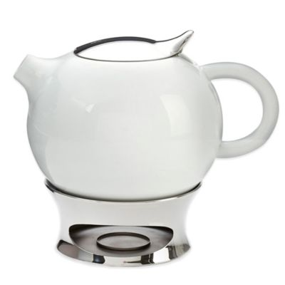 Nambe Mills Bulbo Ceramic Teapot with Infuser and Base