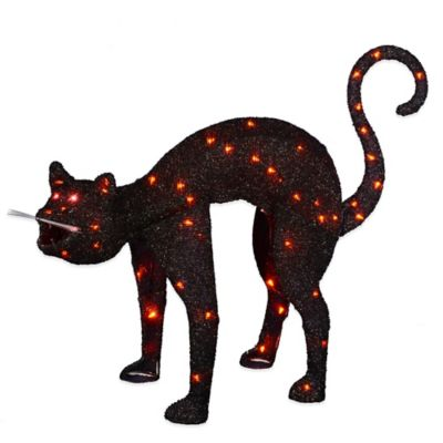 Lighted Animated Tinsel Black Cat Decoration