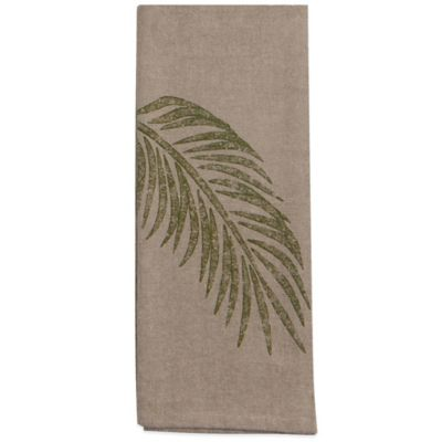 Palm Frond Chambray Tea Towel
