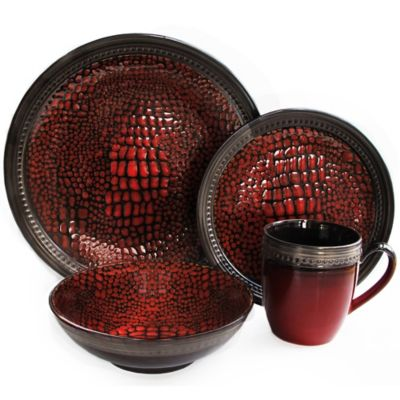 American Atelier Tasmania 16-Piece Dinnerware Set in Red
