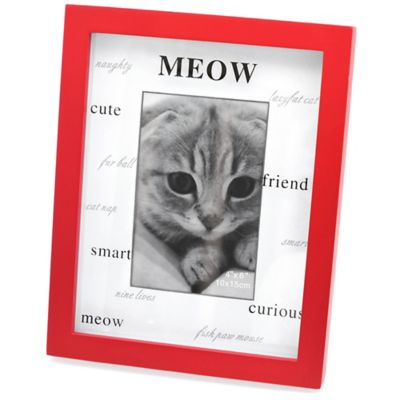 Red Wood Matte Shadowbox MEOW 4-Inch x 6-Inch Frame